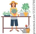 Gardening Hobby, Repotting Plant, Green Vector 55353790