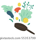 Frying Pen with Vegetables, Cookery Hobby Vector 55353799