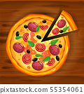 Pizza and slice triangle with different ingredients tomato, cheese, olive, sausage, basil 55354061