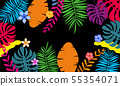 Summer paper cut style, banner template with tropical leaves flowers background, color exotic floral 55354071