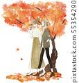 走與微笑秋天,秋葉的兩名婦女 55354290