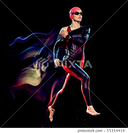 woman triathlon triathlete isolated black background 55354414
