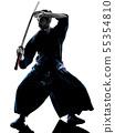 man laido Katori Shinto ryu isolated shadow silhouette white background 55354810