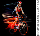 woman triathlon triathlete cyclist cycling isolated black background 55354822