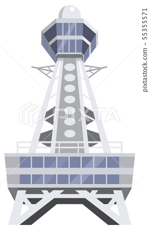 Tsutenkaku tourist destination illustration icon series 55355571