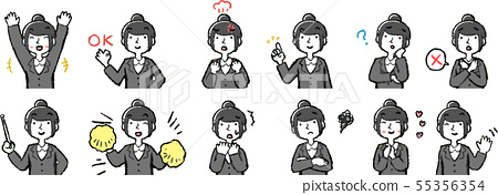 Female Business Woman OL Upper Body Pose Facial Expression New Graduate Illustration 55356354
