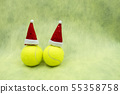Tennis Christmas with Santa hat on yellow backgrou 55358758