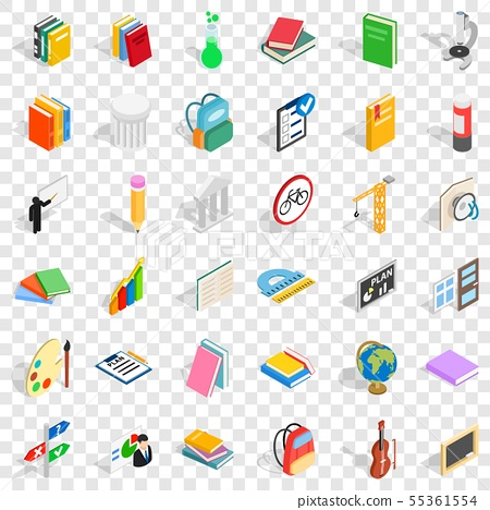 Education in school icons set, isometric style 55361554