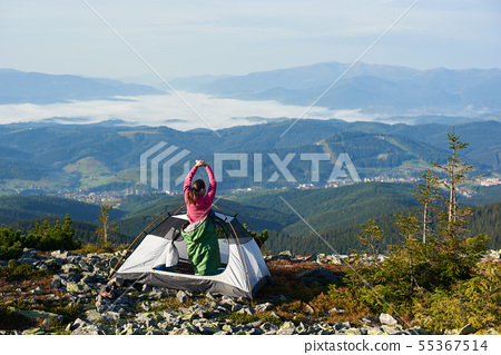 Camping on the top of mountain on bright summer 55367514