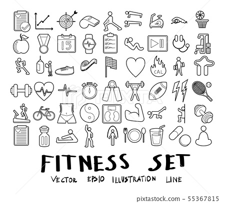 Vector illustration set of fitness line icons 55367815