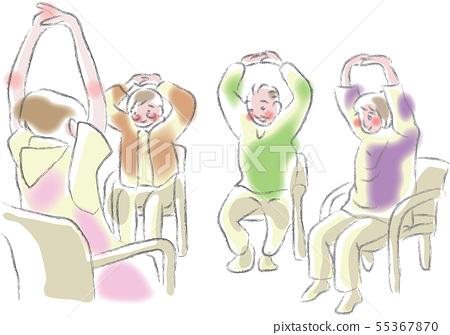 設施工作人員正在教老人的鍛煉 55367870