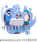 Loving couple is drinking vine in cafe. A man and a woman in love on date are sitting at a table 55368419