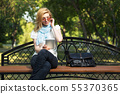 Young fashion woman using tablet computer 55370365