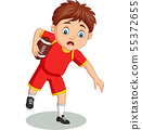 Cartoon little boy playing rugby 55372655
