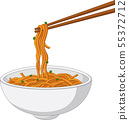 Asian traditional food with noodles and chopsticks 55372712