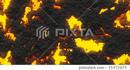 鮮豔細緻的岩漿/熔岩特寫材質紋理背景,俯視圖(無縫接圖,高解析度 3D CG 渲染∕著色插圖) 55372873
