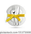 Measuring tailor tape around Plate with knife and 55373008