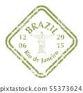 Christ the Redeemer on Grunge Postal Stamp 55373624