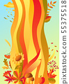 Background with stylized autumn items. 55375518