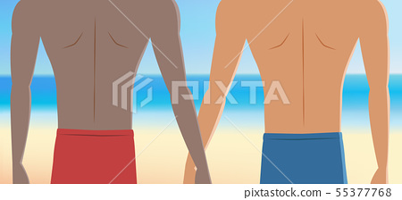 Gay couple on vacation at the beach 55377768