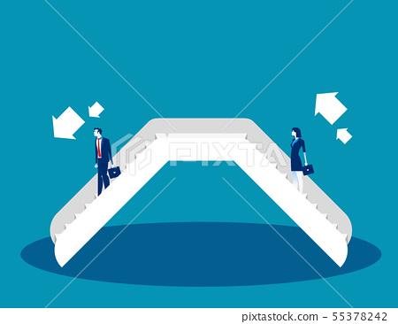 Businessman on an escalator. Concept business 55378242