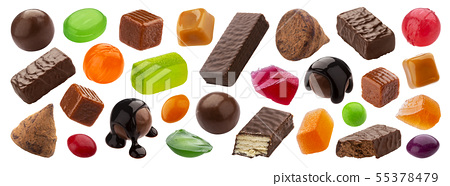 Various jelly candies, caramel, lollipops isolated on white background 55378479