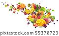 Falling exotic fruits harvest isolated on white background 55378723