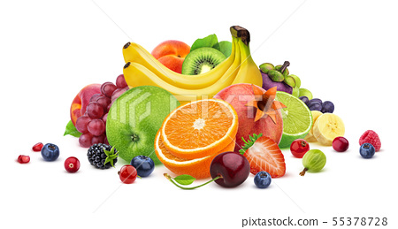 Fruits and berries assortment isolated on white background with clipping path 55378728