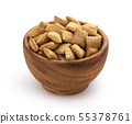 Sweet corn pads with chocolate and milk filling in wooden bowl isolated on white background 55378761