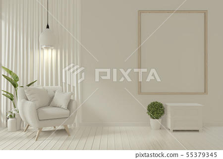 Interior mock up poster frame and armchair in 55379345