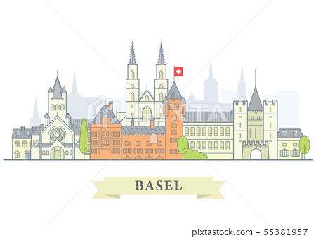 Basel cityscape, Switzerland - old town view, city 55381957