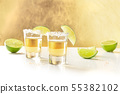 Golden tequila shots with salt, lime slices, and copy space 55382102