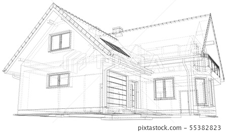 Wireframe blueprint drawing of 3D house - Vector illustration 55382823
