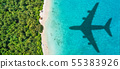 Travel concept with airplane shadow and beach 55383926