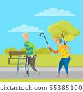 Aged People Walking in Park, Pensioner Vector 55385100