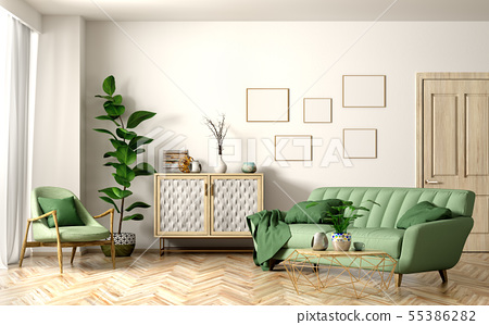 Interior of modern living room with green sofa 3d 55386282