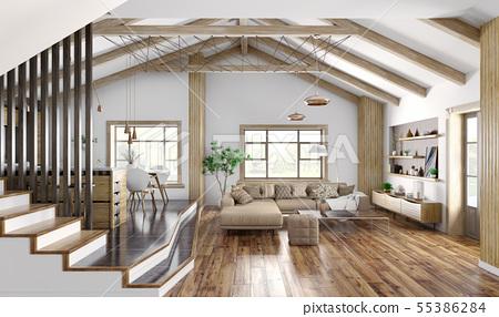 Modern interior design of house, kitchen, living 55386284