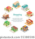 Commercial City Shops Signs 3d Banner Card Circle Isometric View. Vector 55386506