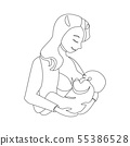 Black Thin Line Breastfeeding Concept Mother and Newborn Baby. Vector 55386528