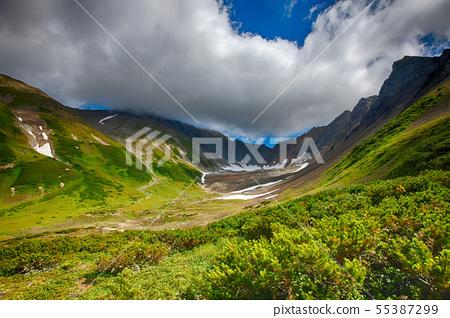 The panorama volcanic landscape on Kamchatka 55387299