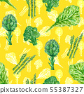Vegetables seamless pattern with healthy food 55387327