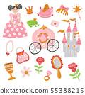 beautiful vector princess, castle, carriage, frog 55388215