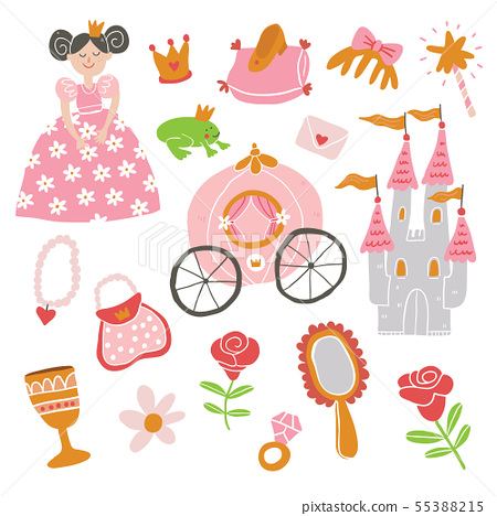 beautiful vector princess, castle, carriage, frog 55388215