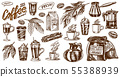 Coffee in vintage style. A bag of grain, cocoa leaves, cinnamon sticks, a cup and a teapot, a coffee 55388939