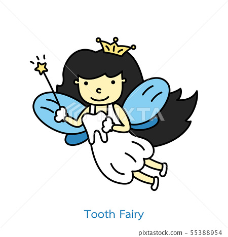 cute tooth fairy flying with teeth 55388954