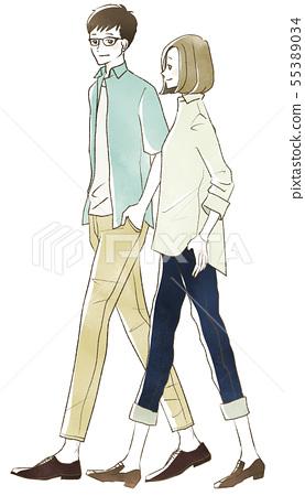 Men and women who take a walk-couple, couple 55389034
