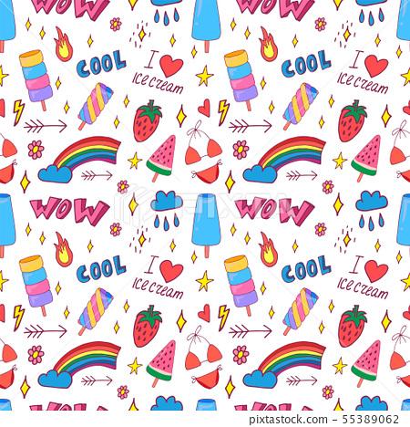 Summer pop art seamless pattern 55389062