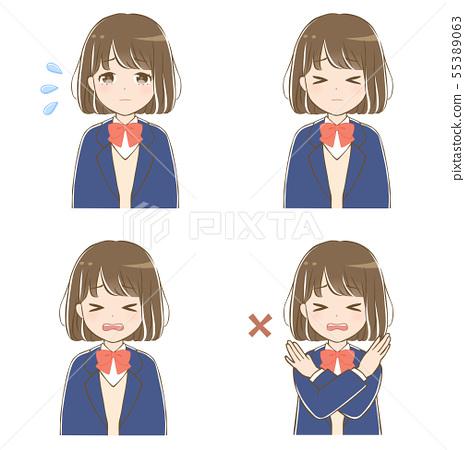 Cartoon, anime style female student 55389063