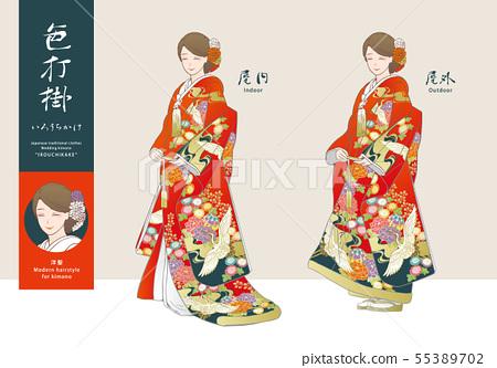 矢量插圖集的婦女在顏色匹配的圖(西方頭髮)(紅色基地和服) 55389702