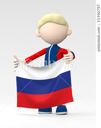 Russian athlete raising the national flag 55390797